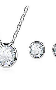 Jewelry 1 Necklace 1 Pair of Earrings AAA Cubic Zirconia Party Zircon 1set Women White Wedding Gifts