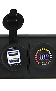 12V led digital display voltmeter and 3.1A USB adapter with housing holder panel for car boat truck RV