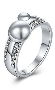 Ringe Kvadratisk Zirconium Daglig Afslappet Smykker Legering Zirkonium Sølvbelagt Guldbelagt Dame Ring 1 Stk.,8 Sølv Gul Guld
