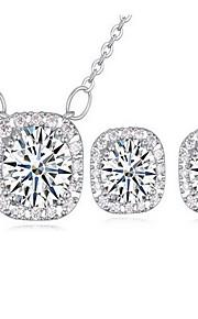 Jewelry 1 Necklace 1 Pair of Earrings AAA Cubic Zirconia Party Zircon 1set Women White Pink Regency Wedding Gifts