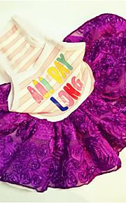 Chien Robe Gilet Bleu Violet Incanardin Vêtements pour Chien Eté Fleur Mignon Anniversaire Décontracté / Quotidien