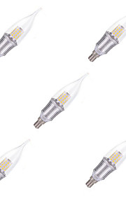 9W E14 Luces LED en Vela CA35 45 SMD 2835 850 lm Blanco Fresco Decorativa AC 100-240 V 5 piezas