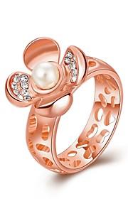 Ringe Imiteret Perle Kvadratisk Zirconium Daglig Afslappet Smykker Legering Imiteret Perle Zirkonium Guldbelagt Rødguldbelagt Dame Ring1