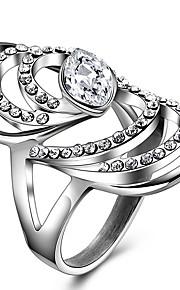 Ringe Krystal Rhinsten Bryllup Fest Daglig Afslappet Smykker Krystal Rhinsten Titanium Stål Dame Statement-ringe Ring 1 Stk.,8 9 Sølv