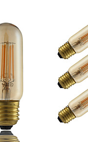 4W E26/E27 LED필라멘트 전구 T 4 COB 350 lm 엠버 밝기 조절 장식 AC 220-240 V 4개