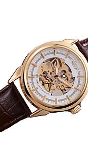Masculino Relógio Esqueleto relógio mecânico Automático - da corda automáticamente Couro Legitimo Banda Marrom marca