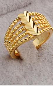 Ringe Hjerteformet Mode Fest Daglig Afslappet Smykker Guldbelagt Ring 1 Stk.,En størrelse Gul Guld