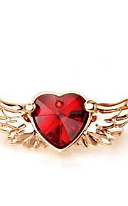 Brocher Hjerteformet Vinger/Fjer Rhinsten Legering Rhinsten Rød Gul Guld Kærlighed Hjerte Mode Euro-Amerikansk Smykker Daglig Afslappet
