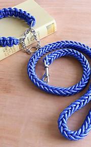 개 가죽끈 조절 가능/리트랙터블 안전 격자무늬/체크 레드 그린 블루 고무