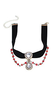 Necklace Rhinestone Choker Necklaces Jewelry Daily Casual Euramerican Fashion Personalized Alloy Rhinestone Fabric 1pc Gift Black Red