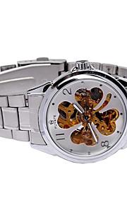 Masculino relógio mecânico Mostrador Grande Automático - da corda automáticamente Aço Inoxidável Banda Casual Prata