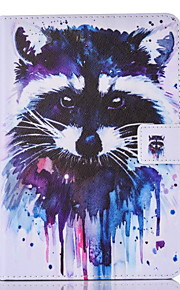 For IPad mini1234 Case Cover Raccoonl Pattern PU Skin Material Flat Protective Shell