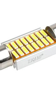 ziqiao 36mm 16 SMD LED 4014 CANbus bil girlander interiør lyspærer (12V / 2 stk)