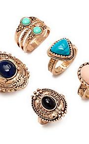 Ringe Euro-Amerikansk Daglig Smykker Legering Ring 1 Sæt,7 Gylden