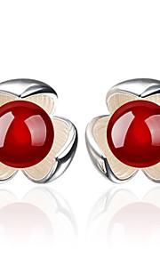 imiteret rubin / Blomstformet Stangøreringe Smykker Blomster Bryllup Fest Daglig Afslappet Krystal 1 par Sort Rød