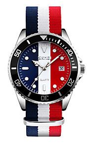 Masculino Relógio Elegante Relógio de Moda Relógio de Pulso Quartzo Japonês Calendário Impermeável Tecido Banda Legal Preta Vermelho marca