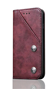 Pour Porte Carte Avec Support Clapet Coque Coque Intégrale Coque Couleur Pleine Dur Vrai Cuir pour AppleiPhone 7 Plus iPhone 7 iPhone 6s