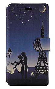 For Kortholder Med stativ Flip Mønster Etui Heldækkende Etui Eiffeltårnet Hårdt Kunstlæder for HuaweiHuawei P9 Lite Huawei P8 Lite Huawei