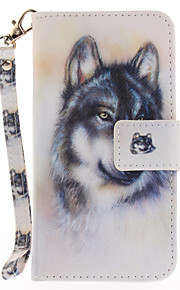 For Apple iPhone 7 7 Plus 6S 6 Plus SE 5S 5 Case Cover Wolf Pattern Painted Card Stent Wallet PU Skin Material Phone Case