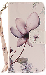 For Apple iPhone 7 7 Plus 6S 6 Plus SE 5S 5 Case Cover Magnolia Flower Pattern Painted Card Stent Wallet PU Skin Material Phone Case