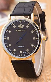 גברים לנשים שעוני ספורט שעוני שמלה שעוני אופנה שעון יד Chinese קווארץ עור אמיתי להקה מזל יום יומי יצירתי צבעוני שחור קפה שחור/לבן