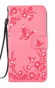 For Samsung Galaxy S7 Edge S7 PU Leather Material Butterfly Flower Pattern Point Drill Phone Case S6 Edge S6 S5