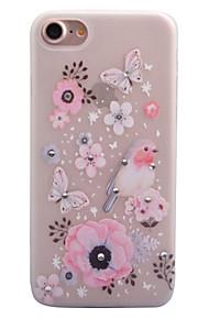 För Strass Självlysande Frostat Genomskinlig Mönster fodral Skal fodral Blomma Fjäril Mjukt TPU för AppleiPhone 7 Plus iPhone 7 iPhone 6s