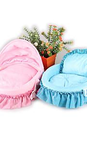 animaux lit chat chien dentelle rose bleu lit solide