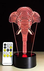 7 kleurverandering licht olifanten lichten acryl visie van stereoscopische 3d-licht LED lamp touch schakelaar gift licht