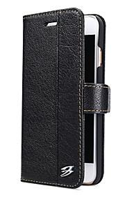 Für Hüllen Cover Geldbeutel Kreditkartenfächer mit Halterung Handyhülle für das ganze Handy Hülle Einheitliche Farbe Hart Echtes Leder für