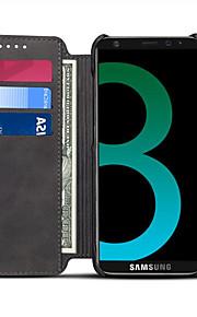 samsung galaxy s8 plus s8 케이스 커버 카드 홀더 지갑 스탠드 플립 전신 케이스 samsung의 단색 하드 폴리 우레탄 가죽