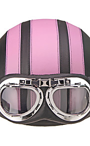 Motorcycle Helmet Open Face Visor Motocross Motor Helmets With Goggles Scarf Adjustable For Hare Retro Outdoor Cycling Pink