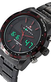 NAVIFORCE Masculino Relógio Esportivo Relógio de Moda Relógio de Pulso Relógio Casual Quartzo Digital Calendário Dois Fusos HoráriosAço