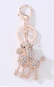 O novo saco de carro chave anéis a idéia de metal poodle bonito com o anel chave broca