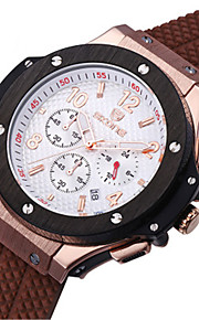 SKONE Masculino Relógio Esportivo Relógio de Moda Chinês Quartzo Silicone Banda Preta Prata Marrom