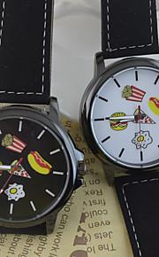 Unissex Relógio de Moda Chinês Quartzo PU Banda Desenhos Animados Preta Branco Preto