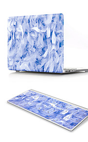 For MacBook Air 11 13 Pro Retina 13 15 Macbook 12 Case Cover PVC Material Oil Painting Blue Feather with US Silicone Keyboard Protector