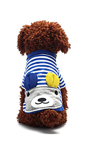 Dog Shirt / T-Shirt Dog Clothes Casual/Daily Fashion Sports Stripe Blue Ruby