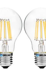8W Lampadine LED a incandescenza A60(A19) 8 COB 600 lm Bianco caldo Bianco V 2 pezzi