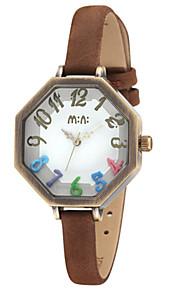 Жен. Модные часы Кварцевый Цифровой Защита от влаги PU Группа Белый Синий Коричневый