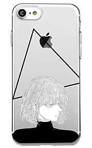 Voor iphone 7 plus 7 case cover milieuvriendelijke transparante patroon achterhoes hoesje geometrische patroon sexy dame zachte tpu voor