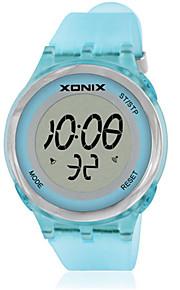 Mulheres Relógio Esportivo Digital Impermeável Borracha Banda Azul Prata Cinza