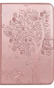 Voor ipad mini 4 geval hoesje kaarthouder portemonnee met tribune flip reliëf full body hoesje boom kat vlinder hard pu leer voor mini