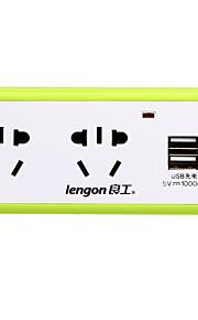lengon xd-q302u au 플러그 전화 USB 충전기 전원 스트립 3 콘센트 2 usb 포트 10a ac 100v-250v