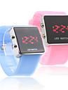 banda de silicone amor casal geléia estilo esporte levou Relógio de pulso - azul claro e rosa