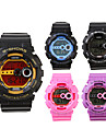 Waterproof Sporty Single Movement Digital Stop Automatic Watch with Night Light - 3 Pack Random Color