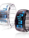 Couple\'s Watch Futuristic Blue LED Digital Bracelet (Black & White, 1-Pair)