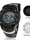 Waterproof Digital Multifunction EL Light Automatic Watch with Calendar & Alarm & Chronograph - Black