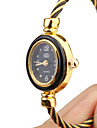 Women\'s Quartz Analog Black & Gold Wire Steel Band Bracelet Watch Cool Watches Unique Watches