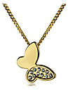 Korean Sweet Drill Butterfly Pendant Alloy Necklace